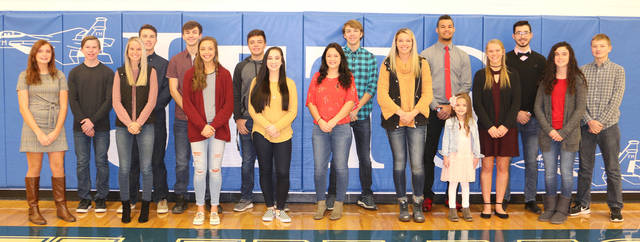 Franklin Monroe Student Council invites the community to attend the Franklin Monroe Homecoming ceremony on Friday. The ceremony will immediately follow the junior varsity basketball game. Pictured are sophomore representatives Raegan Warner and Micah Stacy; queen and king candidates Shelby Bowser, Luke Booher, Jordan Rhoades, Kennedy Morris, Ethan Coppess, Anna Flora, Peyton Archer, Larkin Ressler, Kirsten Zink and Ethan Conley; Princess Lillian Moore; junior representatives Chloe Peters and Jarod Hegemier; and freshmen representatives Maya Diceanu, Mitchell Schmitmeyer. Not pictured is Prince Wyatt Bixler.