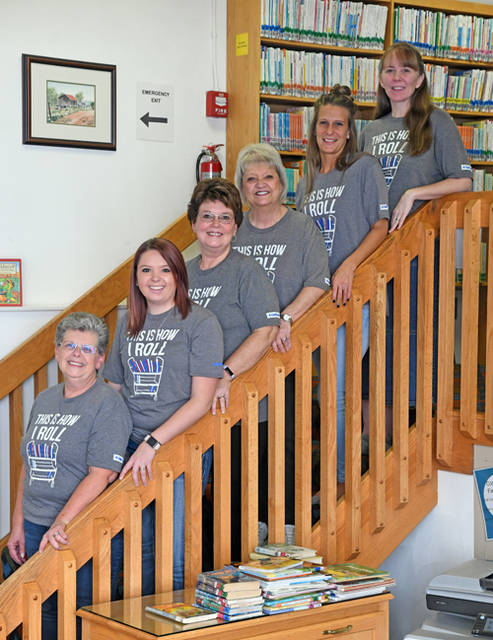 J. R. Clarke Public Library staff (from top to bottom) Charity Counts, Beth Fisher, Cherie Roeth, Megan Alexander and Pam Schaffer are pictured.