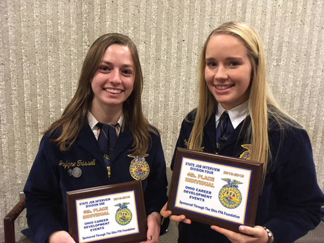 Versailles FFA members who competed in the State Job Interview Contest included Jaylynne Trisse (left) and Colleen Gehret (right).