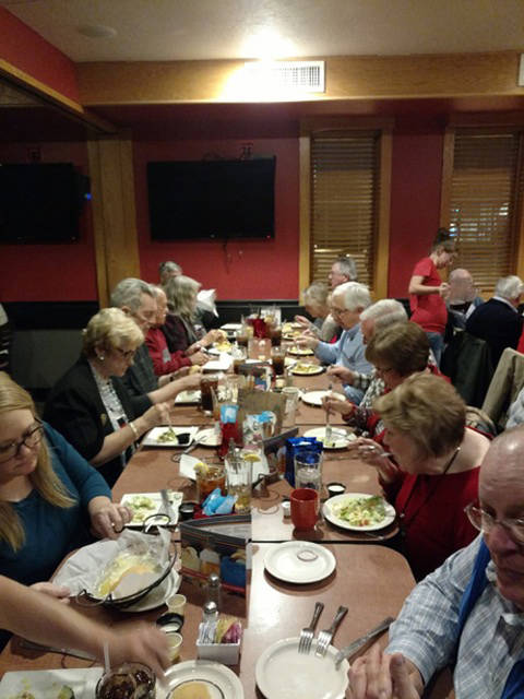 Union City Lions members enjoy the meal at JT's Brew & Grill in Greenville.