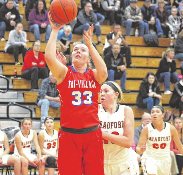 Tri-Village junior Maddie Downing scored a game-high 21 points on Thursday to lead the Patriots to a road win at Bradford, 37-18.