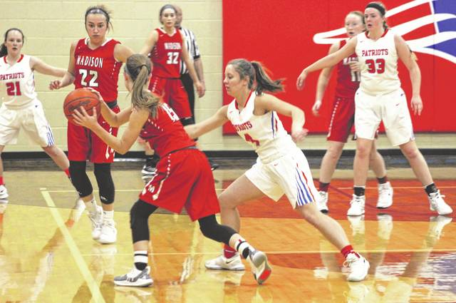Madison Foreman played some tight defense against Madison on Monday night as host Tri-Village earned its eighth win of the season with a 54-27 defeat of the Mohawks.