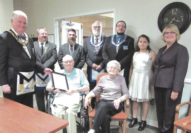 Kenneth Stryker, 94, of Masonic Lodge No. 295 in Arcanum, was presented a 70-year membership pin at a special ceremony Wednesday evening at Brethren Retirement Home.