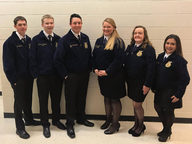 Franklin Monroe-MVCTC FFA chapter officers who competed in the Darke County Parliamentary Procedures contest were (l-r) Clem Montgomery, Garrison Warner, Jacob Winterrowd, Morgan Hissong, Elisabeth Williams and Makayla Knipp.