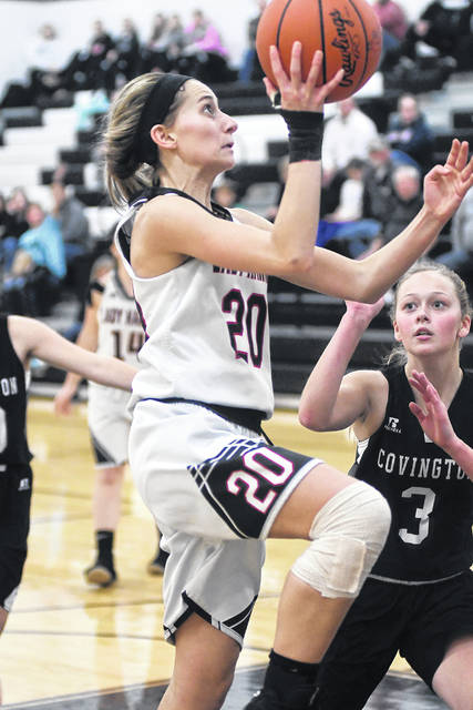 Mississinawa Valley's Olivia Murphy goes in for a layup against Covington on Tuesday. Murphy led the Lady Blackhawks with 16 points, but the Lady Buccs won the game, 65-33.