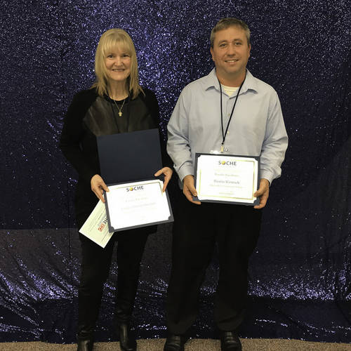 Edison State Community College professors Sandra Streitenberger and Dustin Wenrich are recipients of the 2018 Faculty Excellence in Teaching Award from the Southwestern Ohio Council for High Education.
