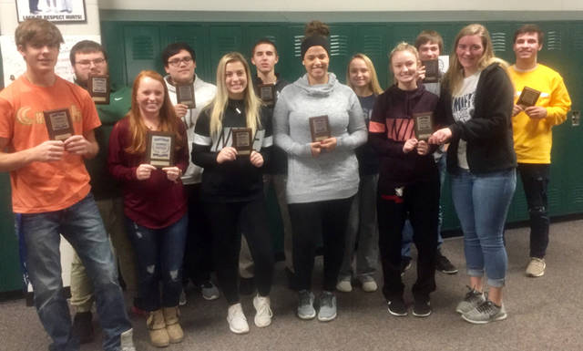 Twelve students from Mississinawa Valley High School learned that they are eligible to compete at Business Professionals of America state contests on March 14, 2019 in Columbus. Pictured are (first row, l-r) Justin Miller, Daisy Brim, Bailey Johnson and Addison Spitler received first place in Administrative Support Team; Riley Price received second place in Advanced Word Processing; Taylor Collins received first place in Advanced Word Processing; (second row, l-r) Mason Hardwick received first place in Fundamental Accounting; Anthony Reno received second place in Fundamental Accounting; Zac Longfellow received first place in Payroll Accounting; Isabelle Barga received first place in Integrated Office Applications; Brad Lester received third place in Integrated Office Applications; and Ethan Dirksen received second placed in Integrated Office Applications.