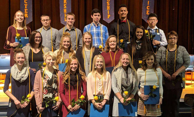 Franklin Monroe inducted new members into the National Honor Society. Pictured are (top row) Selene Weaver, Chase Osterday, Logan Garber, Caden Goins, Ethan Conley, Jonathan Chen, (middle row) school guidance counselor Laura Ayers, Audrey Cable, Chloe Peters, Elisabeth Williams, Corina Conley, school secretary Angie Baker, (bottom row) Keara Knepshield, Meredith Cook, Chloe Brumbaugh, Charity Shellabarger, Belle Cable and Claire Haviza.