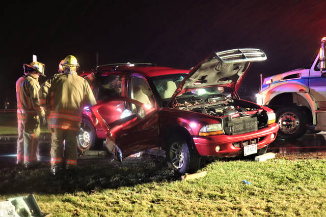 Five people were reported injured in a two-vehicle accident in the area of State Route 49 South and Arcanum Bears Mill Road.
