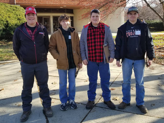 The Arcanum MVCTC FFA chapter Agricultural Mechanical and Technical Systems Team finished 10th at the Ohio FFA State Contest. Members of the team were (l-r) Isaac Smith, Cole Besecker, Ryan Delk and Blayne Hess.