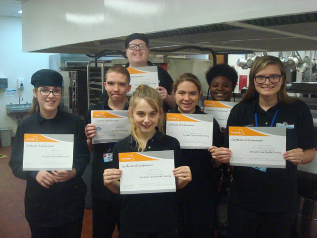 Miami Valley Career Technology Center Hospitality Services Level 2 students earned their ServSafe Certifications. Pictured are (front row) Haylee Grilliott (Dixie), (middle row) Sarah King (Brookville), Jacob Ellis (Northmont), Baily Buck (Miami East), Elizabeth Sorrell (Carlisle) and (back row) Justin Jarvis (Northmont)
