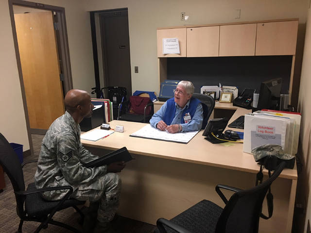 Red Cross volunteer Loretta Johanson is pictured in her office at Wright-Patterson Air Force Base.