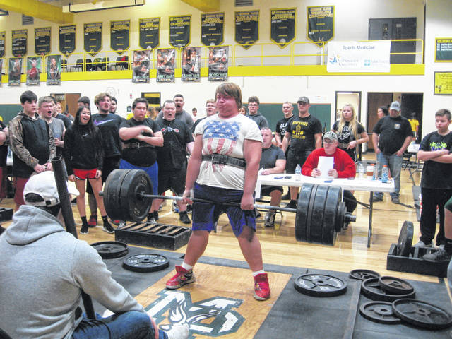 Tri-Village's Wyatt Plush lifts 485 pounds on the dead lift at the <span>Iron Eagle Classic PLM at Madison Plains High School on Saturday Dec. 8. It was the first power lifting tournament of the season for the Patriots.</span>