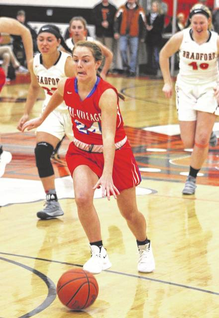 Tri-Village junior point guard Andi Bietry leads Darke County area girls basketball in assists with an average of 5.2 per game.