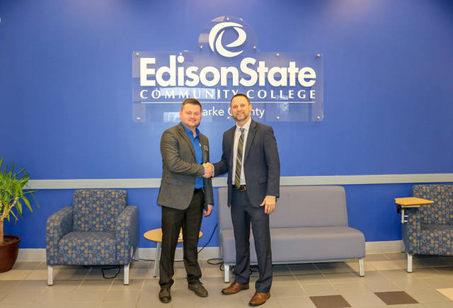 John Stephens, superintendent of Arcanum-Butler, and Chad Beanblossom, vice president of regional campuses at Edison State, meet to discuss their partnership of the new agriculture education building.