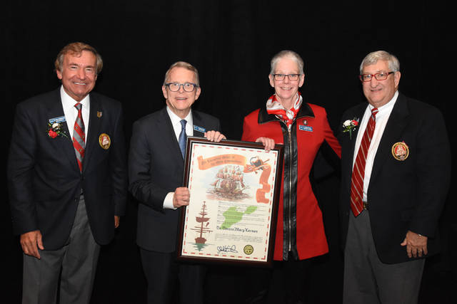 Pictured (l-r) are Grand Commodore Sam Covelli, Gov. Mike DeWine, Doreen Larson and Past Grand Commodore Alan Stockmeister.