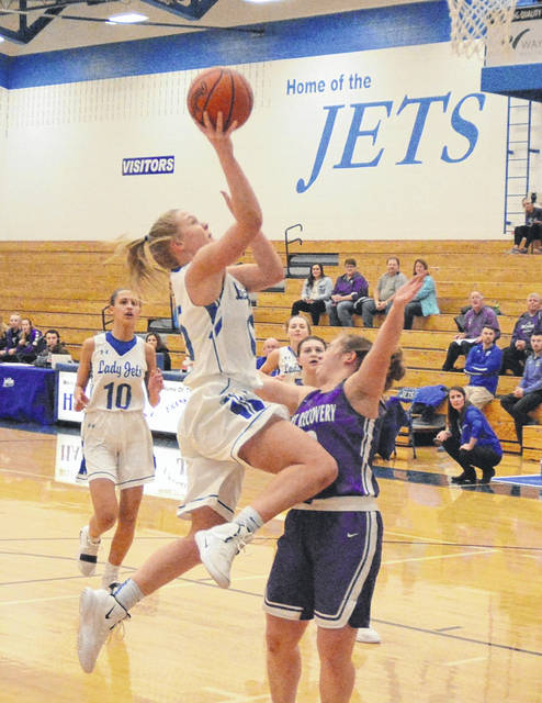 Franklin-Monroe's Chloe Peters goes in for a score against Fort Recovery on Tuesday night. The Indians won the game, 49-44.