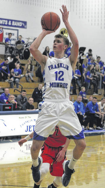 Franklin-Monroe's Connor Crist takes a jump shot against Cedarville on Saturday night. The Indians won the game, 51-50.