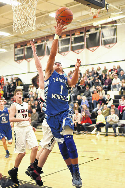 Franklin-Monroe's Ky Cool goes in for a layup against Mississinawa Valley on Friday night as the Jets came from 13 points down to beat the host Blackhawks, 63-58.