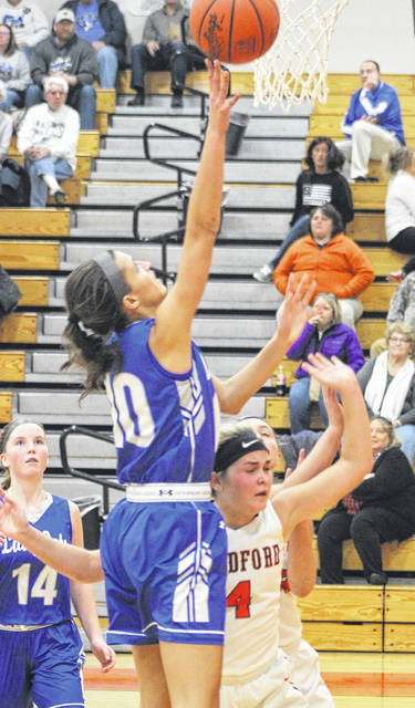 Corina Conley goes in for a score against Bradford on Thursday night. Conley led Franklin-Monroe with a career-high 27 points in beating the Railroaders 60-26.