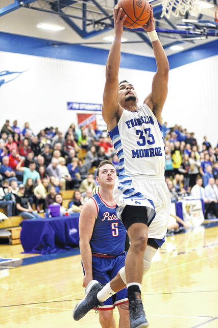 Franklin-Monroe senior Ethan Conley had a game-high 43 points in leading the Jets to a Cross County Conference win over Tri-Village on Friday night.