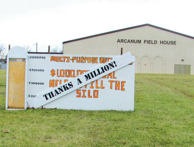 Arcanum- Butler students built a wooden silo, which gradually was filled with grain as the district came closer to meeting its $1 million goal for the agricultural facility project.