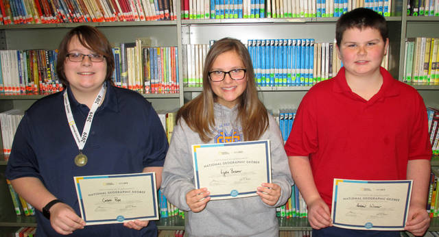 St. Mary's School recently held its geography bee. Pictured (l-r) are Carson Pope, the winner; Lydia Beisner, runner-up; and Andrew Winner, third place. Carson has now taken an online test to determine if he qualifies for the state competition for the right to go onto the national level.