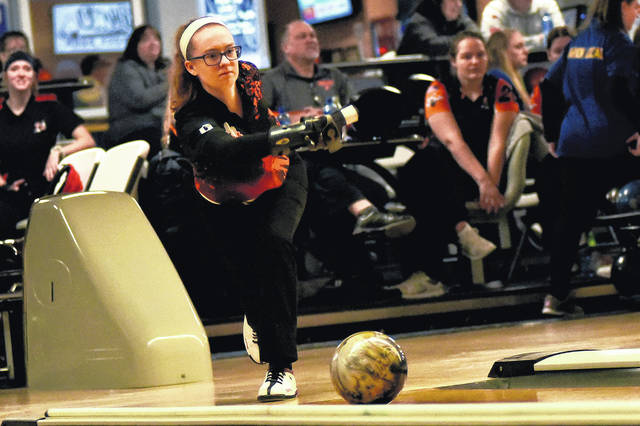 Versailles senior Haddi Treon leads Darke County in girls bowling average so far this season.