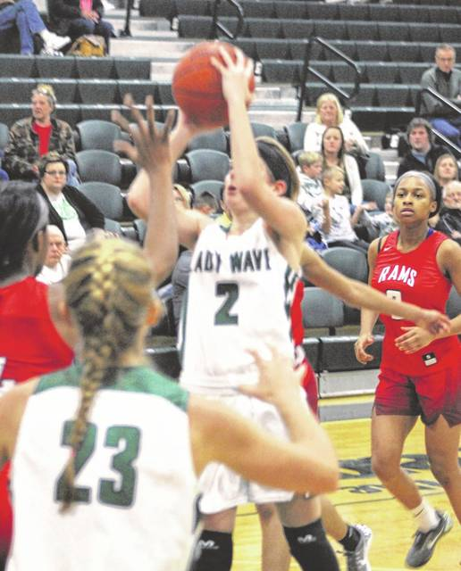Greenville's Haleigh Mayo shoots from in front of the basket for two of her team-high 12 points in a 55-45 loss to Trotwood-Madison on Saturday.