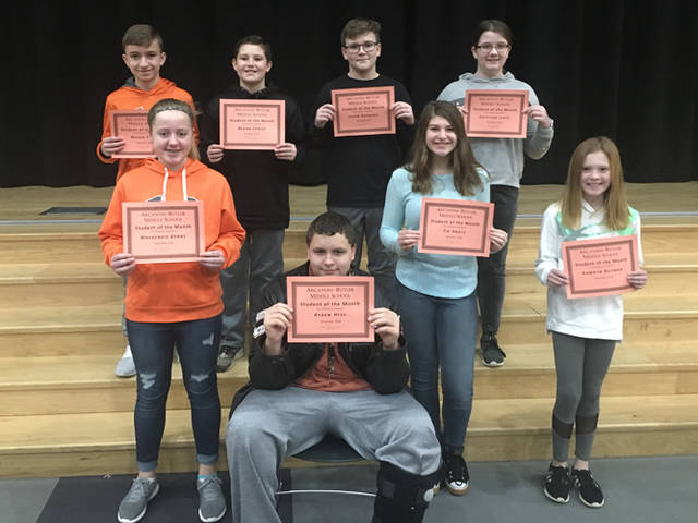 Arcanum-Butler Middle School announced its December Students of the Month. Pictured are (front row) Mackenzie Byrne, Ayden Hess, Tia Angle, Kamryn Beisner, (back row) Mason Todd, Regan Christ, Jacob Rayburn and Kaitlynn Lipps.