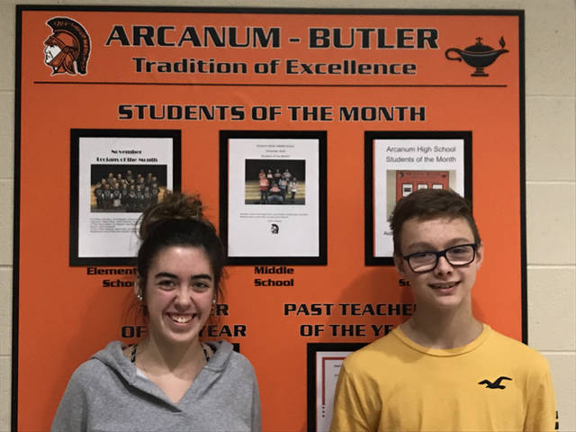 Abbi VanHoose and Kaleb Flatter were named Arcanum High School's students of the month for December.