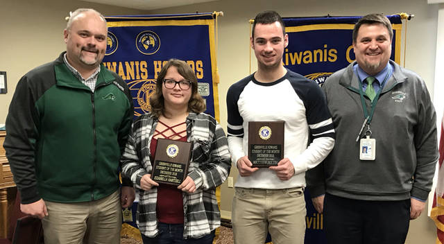 Greenville Kiwanis Club recognized Issabella Hartzell (second from left) and Matthew Boltin (third from left) as its students of the month for December 2018. They are pictured with Greenville Athletics Director Aaron Shaffer (left) and Greenville High School Principal Stan Hughes (right).