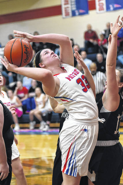Maddie Downing goes in for a score against Covington in a game earlier this season. Downing is one reason the Lady Patriots are 15-1 this season and ranked fifth in the latest Division IV state poll.