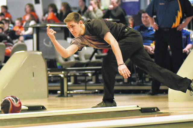 Mississinawa Valley's Roman Dircksen competes in a match against Russia on Saturday at Woodcrest Lanes in Union City.