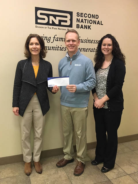 Second National Bank recently donated to the Darke County Foundation in support of its scholarship and community grant programs. Pictured (l-r) are Christy Prakel, executive director of the Darke County Foundation; Todd Durham, vice president and trust officer at Second National Bank; and Antonia Baker, assistant trust officer and financial adviser at Second National Bank.