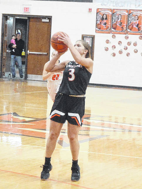 Ansonia senior Trinity Henderson takes a shot in a game against National Trail on Thursday. Henderson finished with 18 points albeit in a 54-39 loss for the Tigers.