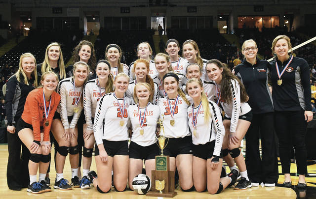 The Versailles girls volleyball team won its second consecutive Division III state championship in early November by defeating Independence in three straight games at Wright State University's Nutter Center.
