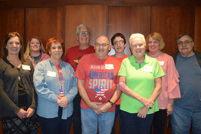 Community Blood Center honored donors Susan Leugers, Teri Hunley, Judy LaMusga, Glenn Stoops, Wendell Clark, Theodore Hale, Katie Ellis, Kelly Schmitmeyer and Bert Jones.