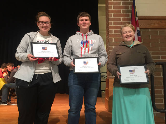 Versailles FFA January members of month are (l-r) Laura Wuebker, Dalton Hesson and Shiloh Hess