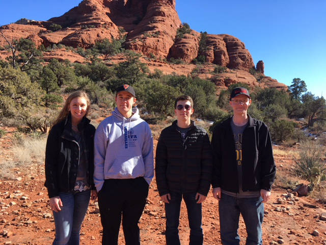 Versailles FFA members competed at the National Livestock Judging contest in Arizona and placed third overall as a team while Emma Peters placed ninth overall. Members who competed included (l-r) Ian Gehret, Emma Peters, Marcus Berger and Ben Albers.