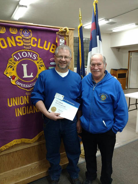 Union City Lions' newest member, Jim Dubeansky, is pictured with his sponsor, Lion George Green.