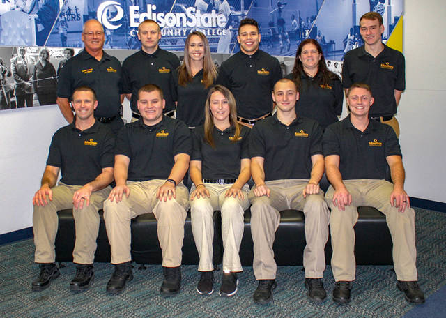 Edison State's 37th Police Officer Academy students were honored during a ceremony in December. Pictured are (back row, l-r) Commander Joseph Mahan, Shawn McIntire, Lisa Holfinger, Marquis Payton, Sarah Maynard, Zayne Taylor, (front row, l-r) Justin Miller, Robert Benshoff, Alyssa Baker, Brandon Lingenfelter and Dustin Elsass.