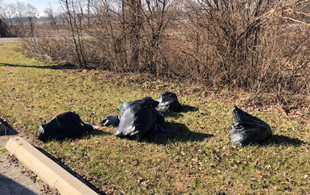 A pile of trash was dumped near the parking area of Turkeyfoot Preserve on Bishop Road, just south of Greenville off State Route 121.