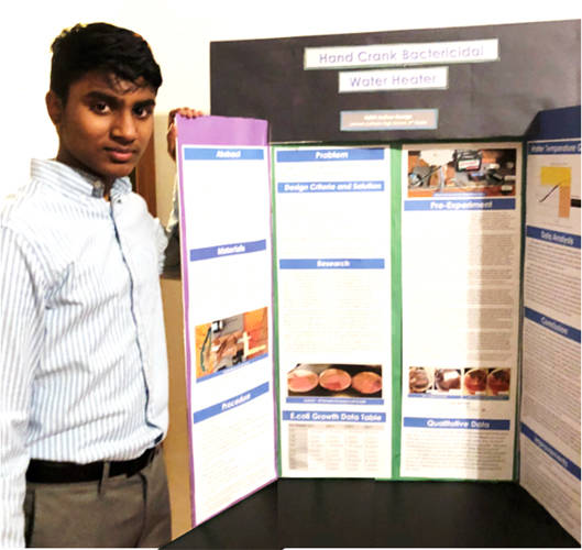 Lehman Catholic freshman Adith Joshua George received the highest rating of 40 points for his project, hand cranked bactericidal water heater.