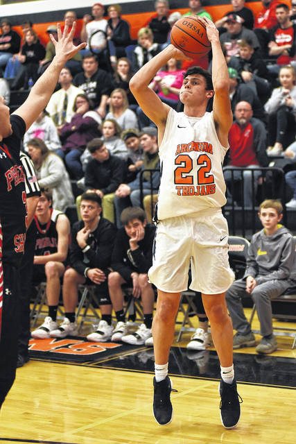 Arcanum senior Evan Atchley could not be stopped as he scored a game-high 17 points including five 3-pointers in a 59-39 win over Preble Shawnee on Saturday.