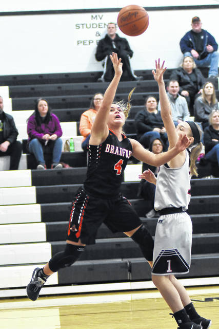 Bradford freshman Austy Miller led the Railroaders with 19 points in defeating Mississinawa Valley 60-34 on Thursday.