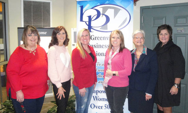 Desteni Mason was the featured speaker at the Greenville Business and Professional Women's Club meeting on Feb. 14. Pictured (l-r) are Annette Sanders, Susan Fowble, Mason, Melissa Barhorst, Peggy Foutz and Sue Huston.