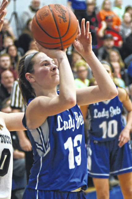 Franklin-Monroe sophomore Chloe McGlinch had a career night scoring 19 points in leading the Lady Jets to a 42-34 win over Covington in a Division IV sectional final game on Wednesday night at Brookville.