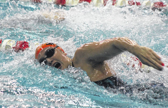 Arcanum senior Isabella Gable competes in the finals of the Division II state 200-yard freestyle race on Friday at C.T. Branin Natatorium in Canton. She finished in second place with a time of 1:50.63.