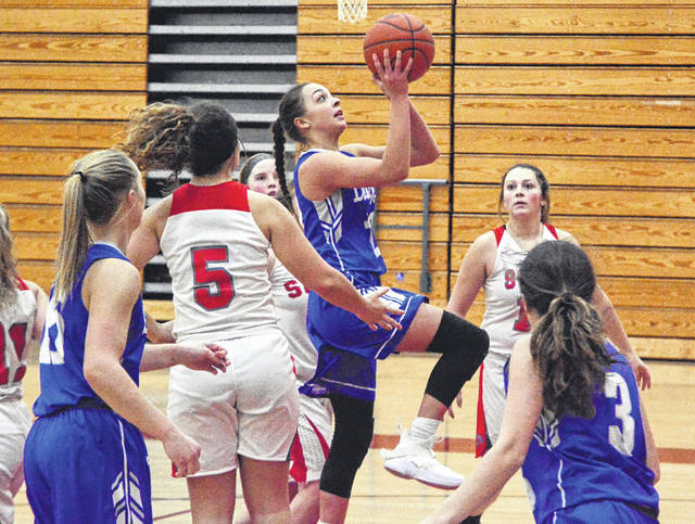 Franklin-Monroe senior Kennedy Morris drives through the lane to score against Twin Valley South on Tuesday night. The Lady Jets won the game, 69-23.